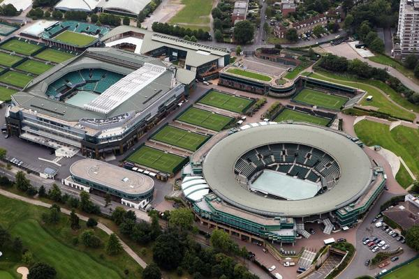 Wimbledon plans to install a retractable roof over Court 1, right. Centre Court, left, already has a retractable roof.