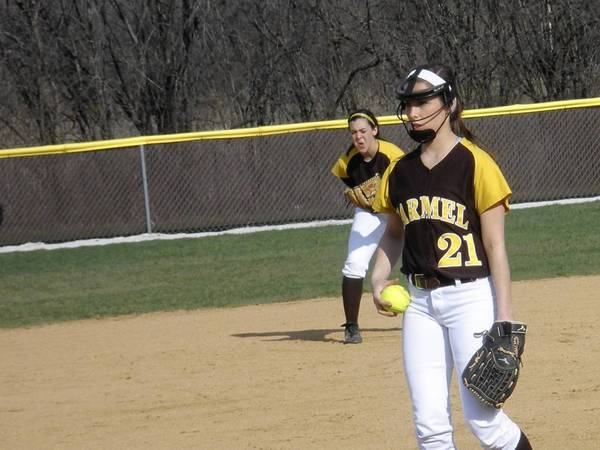 Pitcher Nicole Bitter and Shortstop Kathleen Felicelli in background playing during a recent Carmel game