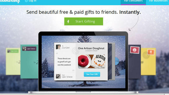 A screen grab of the Boomerang gifting Web site.