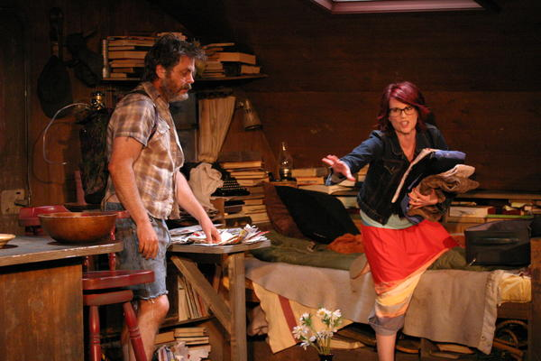 "Nick Offerman and Megan Mullally in ""Annapurna"" at the Odyssey Theatre Ensemble."