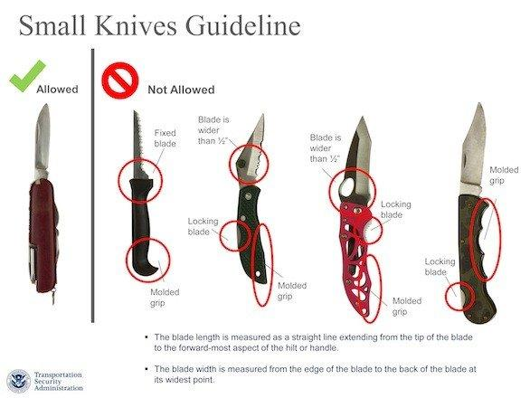 The Transportation Security Administration issued these guidelines in March to show which knives will and won't be allowed on planes under a revised policy. The change has been put on hold.