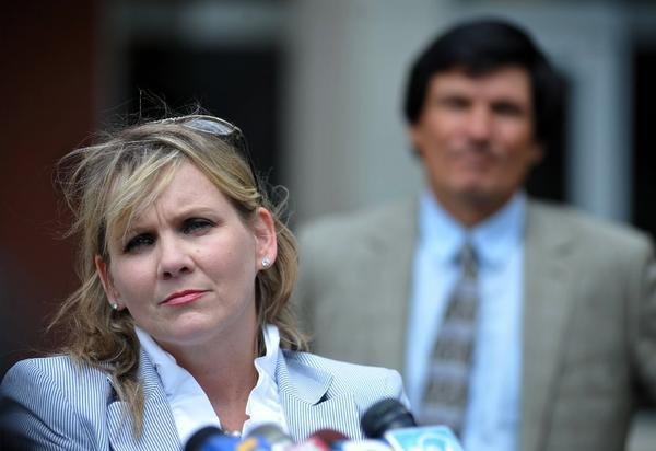 """Christi McCoy, attorney for Paul Kevin Curtis, outside the federal courthouse in Oxford, Miss., on Monday. McCoy told the Los Angeles Times """"there is absolutely not a shred of evidence"""" linking Curtis with letters laced with the toxin ricin that were sent to President Obama and others. Officials said Tuesday that Curtis had been released from jail."""