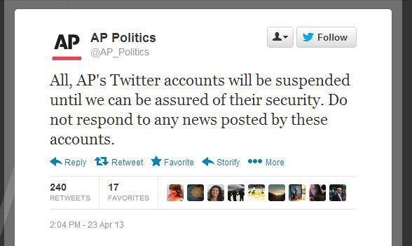 The Associated Press said at least two of its Twitter accounts were hacked Tuesday.
