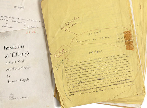 "A manuscript of ""Breakfast at Tiffany's"" with annotations by author Truman Capote."