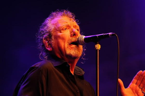 Former Led Zeppelin lead singer Robert Plant performs on stage with his band The Sensational Space Shifters at Bluesfest Byron Bay in Australia