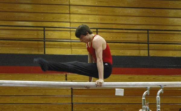 Naperville Central's Dom Delgrosso competes on the parallel bars. He finished third with a score of 8.5