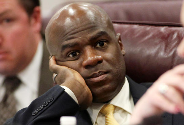 Kelvin Atkinson, a Democrat from North Las Vegas, surprised his colleagues in Nevada's state Senate when he announced Monday that he was gay during a debate about same-sex marriage. He is pictured here during a 2011 session.