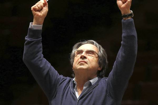 Riccardo Muti, Chicago Symphony Orchestra conductor, rehearses the symphony in Schumann's Symphony #3 on Tuesday.