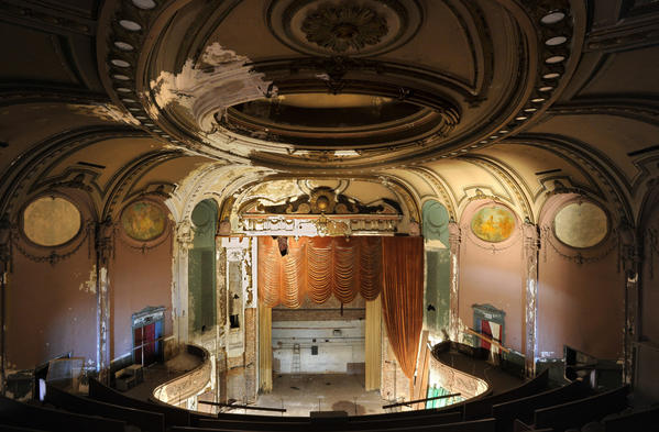 Interior view of theater from the balcony. The city-owned Parkway Theatre was open for potential developers to tour. The former Loews Parkway, later known as 5 West has been closed for many years.