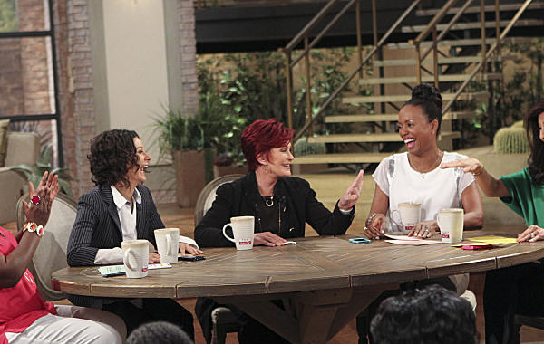 Sharon Osbourne, center, addresses tabloid reports about her and Ozzy's marriage and sets the record straight on Tuesday, with cohosts Sheryl Underwood, left, Sara Gilbert, Aisha Tyler and Julie Chen.