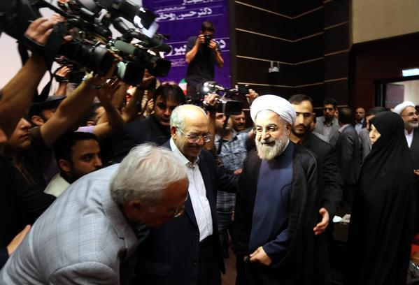 Former chief nuclear negotiator Hasan Rohani at the April 11 political conference where he announced his candidacy for president. A harsh critic of the provocative nuclear policies of President Mahmoud Ahmadinejad, Rohani has called for better relations with the West and moves to get sanctions lifted.