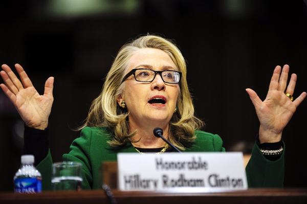 Then-U.S. Secretary of State Hillary Rodham Clinton testifies before the Senate Foreign Relations Committee in January about the attack in Libya that killed the U.S. ambassador and three other Americans.