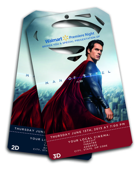 "Wal-Mart has partnered with Warner Bros. to give customers access to an early screening of the forthcoming summer movie ""Man of Steel."""