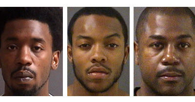 From left: Police arrested and charged Cory D. Baytop of Huber Road in Newport News, Eriq K. Benson of Quinton, and James A Mackey Sr. of Midlothian, each with five counts of hazing, a misdemeanor charge, in connection with the incident.
