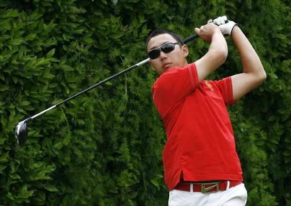 GCC's Jin Park hits off the 10th tee in a Western State Conference home golf match at Oakmont County Club in Glendale on Monday, April 15, 2013.