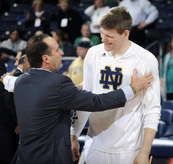 Notre Dame's Jack Cooley with coach Mike Brey.
