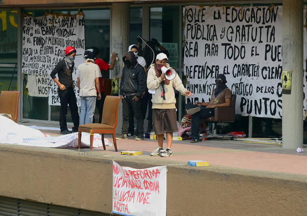 Students protest at the National Autonomous University of Mexico's rectory building in Mexico City.