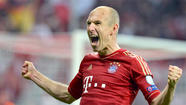 Thomas Mueller scored twice, Mario Gomez and Arjen Robben had one goal each and Bayern Munich routed Barcelona, 4-0, Tuesday night in the first leg of their Champions League semifinal in Munich.
