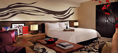The rooms  at the Nobu Hotel have an elegant simplicity. The hotel is inside Caesars Palace in Las Vegas.