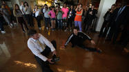 Almost before he had taken his last spin, there was a YouTube video up of Cal State University Chancellor Timothy P. White break dancing in front of hundreds of appreciative students at the Dominguez Hills campus Tuesday.