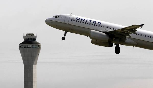 The on-time rate for airlines at the nation's largest airports dropped to an average of about 73% on Monday, compared with 82% the previous Monday, according to Flightstats, a website that monitors airline performance rates. Above, a United Airlines jet departs in view of the air traffic control tower at Seattle-Tacoma International Airport in Seattle.