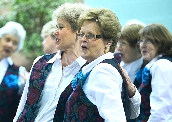 Members of the Freedom Valley Chorus perform during Tuesday's 21st annual Women in Need's Vigil Against Violence at St. Paul United Methodist Church in Chambersburg, Pa.