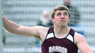 Bangor's Bryan Pearson fouled on his second attempt in the discus competition of Tuesday's showdown with fellow Colonial League unbeaten Wilson.