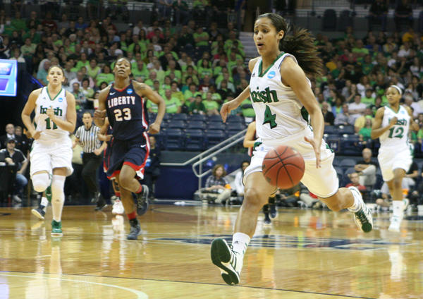 Skylar Diggins (4) was named Most Valuable Player at Tuesday night's Notre Dame women's basketball banquet.