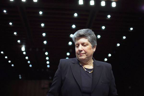 Homeland Security Secretary Janet Napolitano appears at the Senate Judiciary Committee hearing Tuesday on the immigration reform bill. She faced tough questioning from both Republican and Democratic senators.