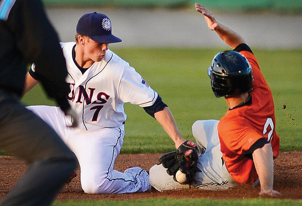 Hagerstown's Tony Renda, left, tags out Augusta's Matt Duffy as he attempts to steal second base in the top of the fourth inning Tuesday night at Municipal Stadium.