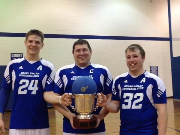 Captains of the Grand Valley Dodgeball National Championship team include (from left) Petoskeys Dylan Fettig along with Mark Trippiedi and Kenny Bacchus.