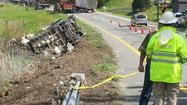 A tractor-trailer carrying nearly 1,000 turkeys crashed on Route 220 North on Wednesday morning, forcing one lane to close.