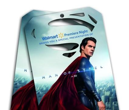 "Part of the ""Man of Steel"" promotion at Wal-Mart."