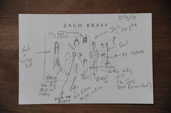 "Zach Braff's conceptual doodle of his new screenplay ""Wish I Was Here."""