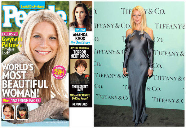 Gwyneth Paltrow is proclaimed the World's Most Beautiful Woman on the cover of People's May 3 issue, left, and at the Tiffany & Co. Blue Book Ball in New York last Thursday.
