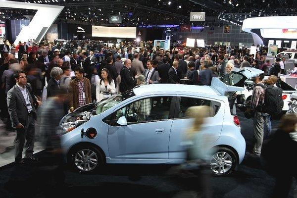 The Chevrolet Spark EV is unveiled at the Los Angeles Auto Show