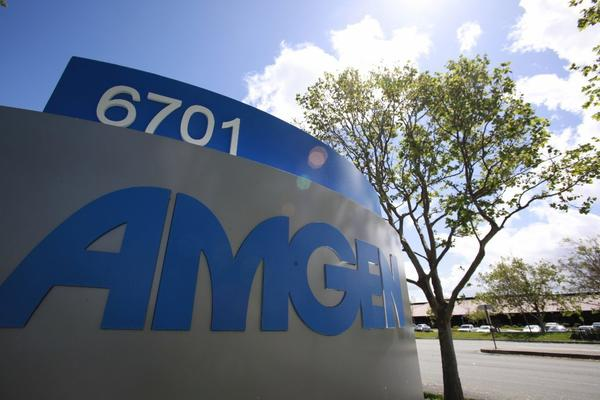 Shares in Thousand Oaks-based Amgen Inc. dipped Wednesday after the biotech giant reported weaker-than-expected sales growth in the first quarter.