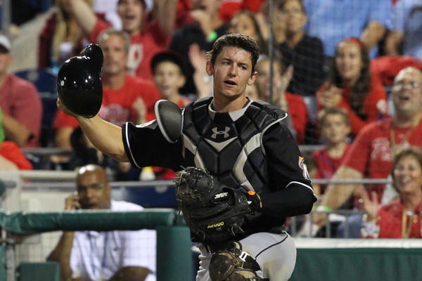 PHILADELPHIA - SEPTEMBER 11: Rob Brantly #19 of the Miami Marlins reacts after dropping a pop up during a game against the Philadelphia Phillies at Citizens Bank Park on September 11, 2012 in Philadelphia, Pennsylvania. (Photo by Hunter Martin/Getty Images) ORG XMIT: 139230262