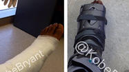 "Fresh off an April 13 surgery to repair his torn left Achilles' tendon, Kobe Bryant announced via <a href=""https://twitter.com/kobebryant"">Twitter</a> on Tuesday he is out of his cast."