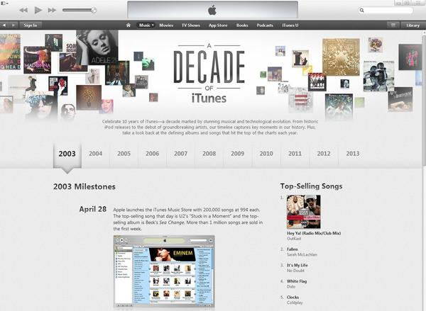 Apple is celebrating the 10th anniversary of iTunes with a timeline website.