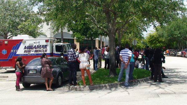 About 400 people were evacuated following a bomb threat in Miramar
