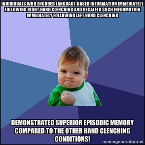 A study suggests a link between memory and fist clenching.