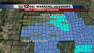 "<span style=""font-size: small;"">Frost is possible again for much of Kansas overnight and early Thursday, but the warmup does continue and temperatures are expected to go back above normal this weekend.</span>"