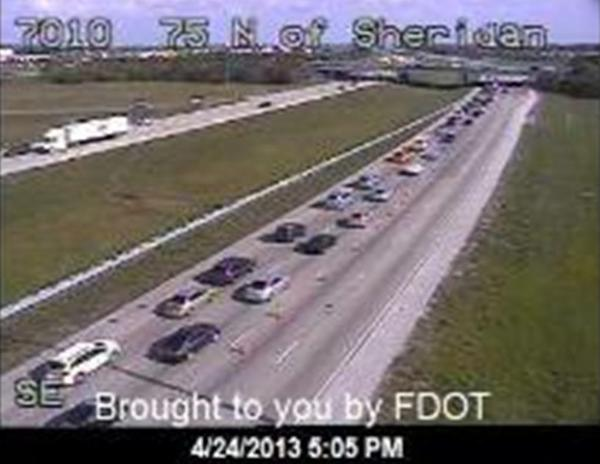 One person died in a rollover on Interstate 75 near the Sheridan Street exit