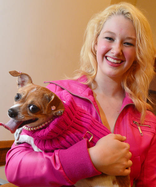 "Leah Harrell plays ""Elle"" and Latte plays ""Bruiser"" in the Barbara Ingram School for the Arts production of ""Legally Blonde."""