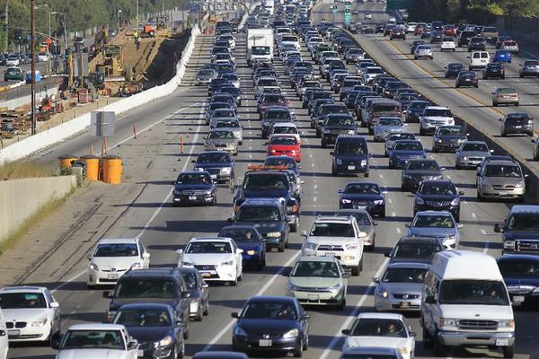 Traffic crawls along the northbound 405 Freeway during rush hour April 16 in Westwood.
