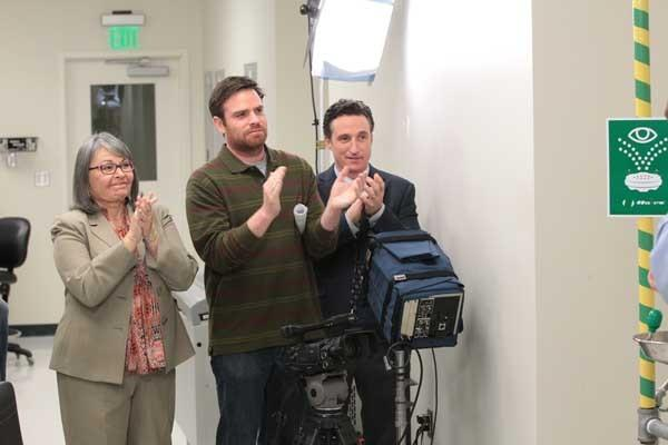 "A talent agent (Roseanne Barr) helps Andy get a gig in ""The Office"" on NBC."