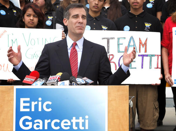 Mayoral candidate Eric Garcetti speaks at a news conference after he reached the May 21 mayoral runoff against City Controller Wendy Greuel.