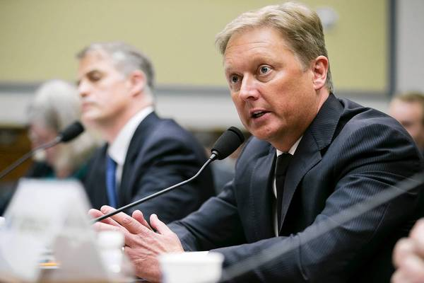 Henrik Fisker, co-founder and former CEO of Fisker Automotive, speaks at a hearing before a House subcommittee.