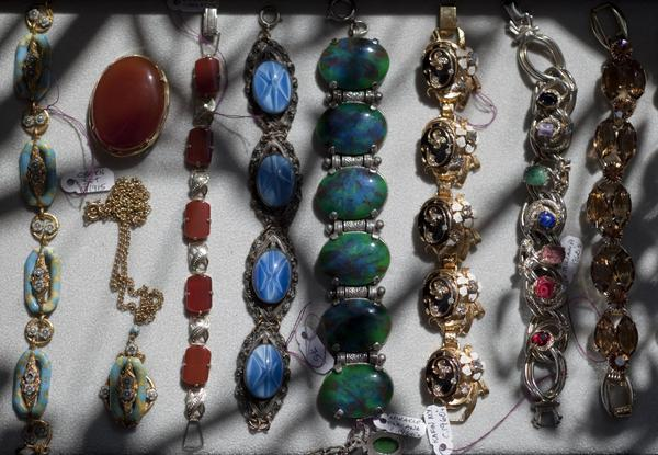 A selection of Neil Zevnik's vintage costume jewelry